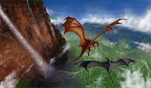 драконы-арт-красивые-картинки-полет-689763