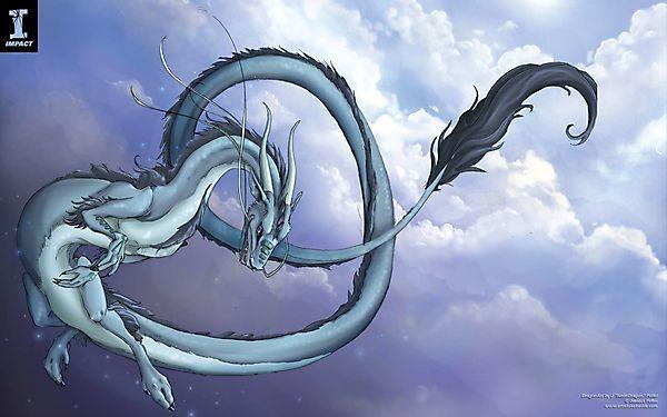 Белая драконица летает по небу