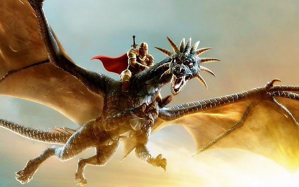Воин верхом на рогатом драконе