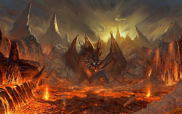 Дракон любуется лавой