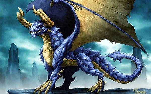 Рисунок синего дракона