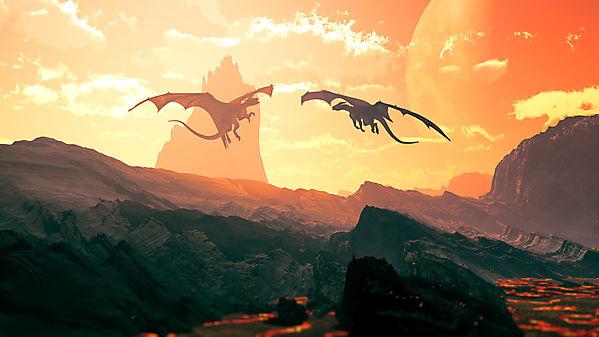 Два парящих дракона