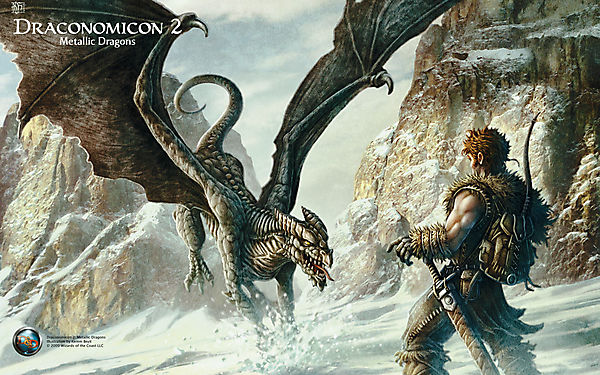 Дракон нападает на воина в снегах