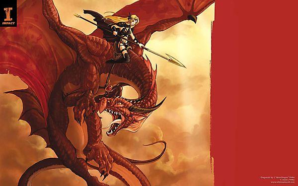 Красный дракон с наездницей