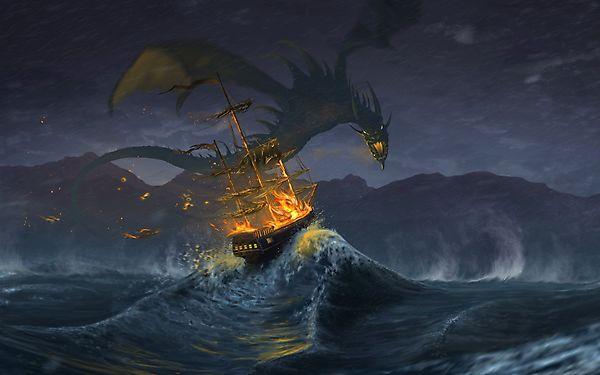 Дракон поджог морской корабль