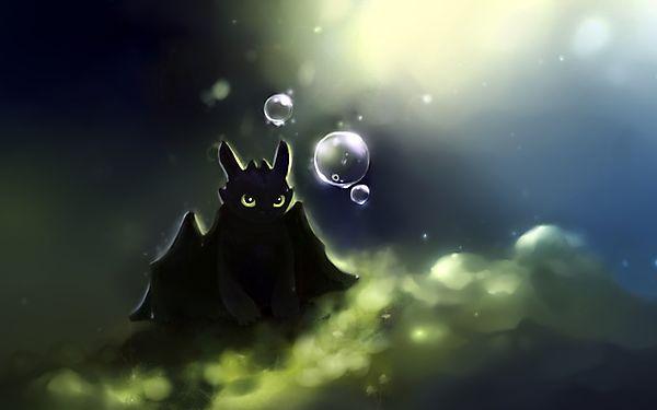 Дракончик смотрит на пузыри