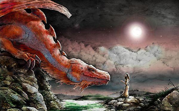 Красный дракон и девушка
