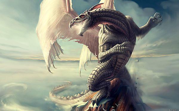 Дракон с белыми крыльями