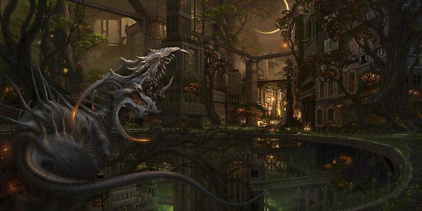 Дракон в сказочном городе