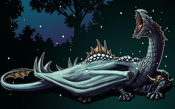 Зевающий дракон и девушка