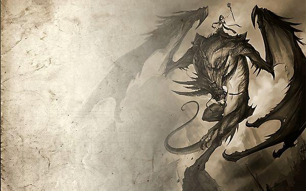 Рисунок дракона с наездницей