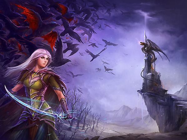 Лучница и дракон на замке