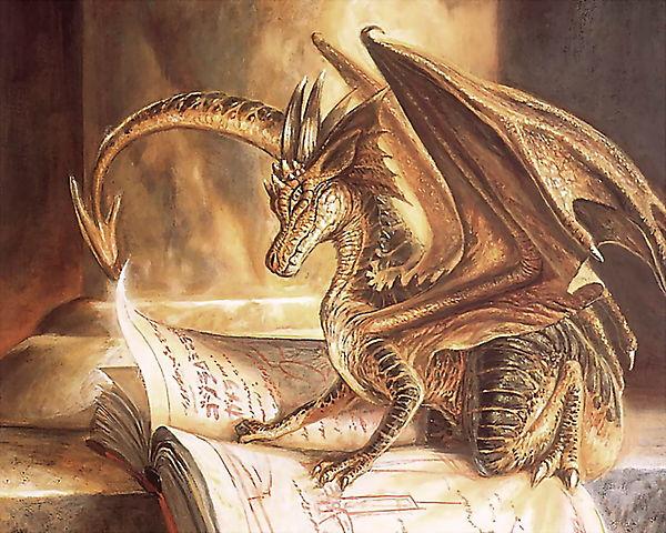 Маленький дракон читает книгу