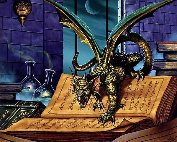 Дракон на магической книге