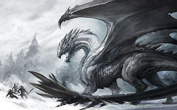 Дракон атакует воинов