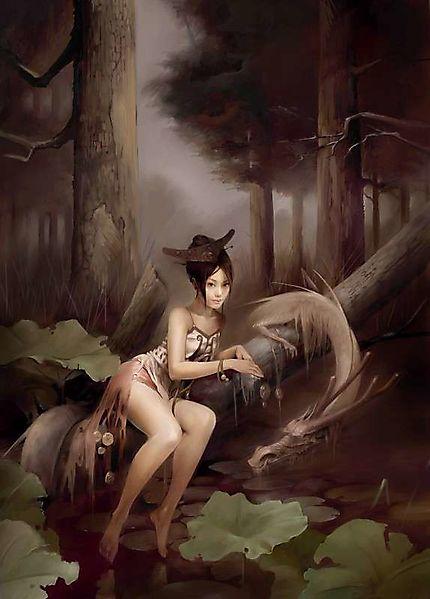 Красивая китаянка и лесной дракон