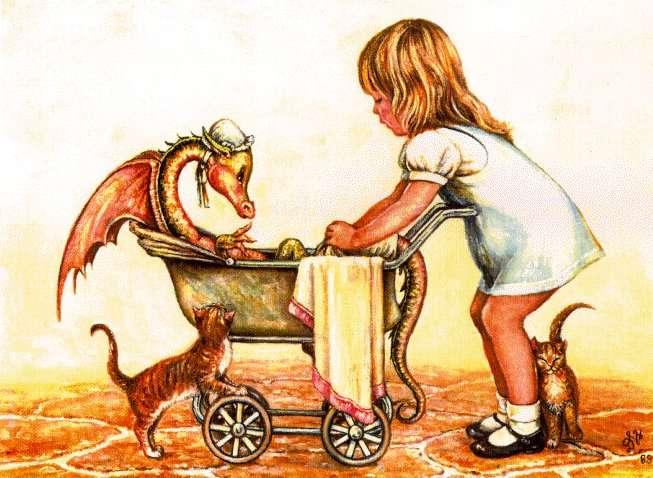 Рисунок - эльфийка с драконом - Галерея фэнтези рисунков   478x653