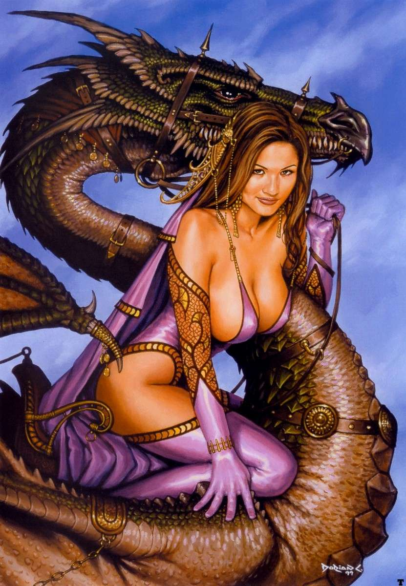 Naked fantasy girls & dragons hentia scenes