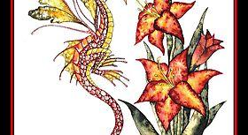 Красивый дракон и прекрасный цветок