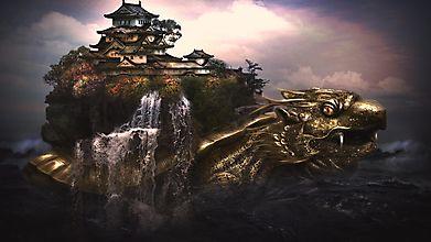Драконо-черепаха везет на спине остров