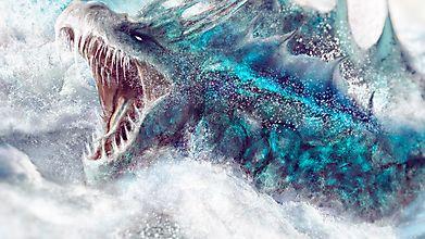 Ужасный морской демон во время шторма