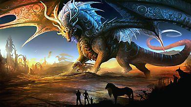 Огромный волшебный дракон в рунах