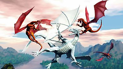 Три дракона атакуют белого дракона
