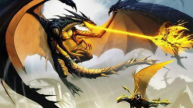 Огромный дракон атакует других драконов