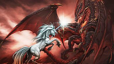Единорог атакует дракона