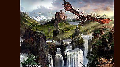 Дракон летит на фоне водопадов