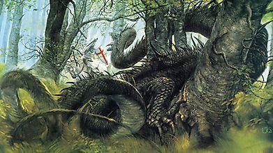 Дракон в лесу атакует всадника