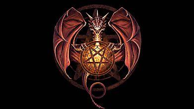 Дракон держит пентаграмму