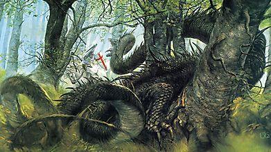 Дракон атакует рыцаря