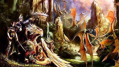 Отряд героев наблюдает за полетом драконов