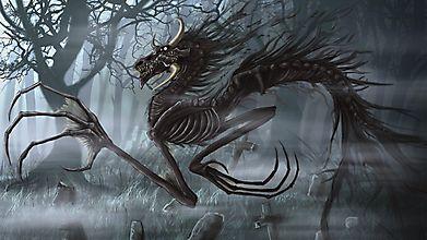 Костяной дракон на кладбище