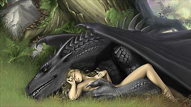Дракон и обнаженная девушка