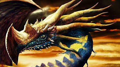 Дракон с длинными рогами