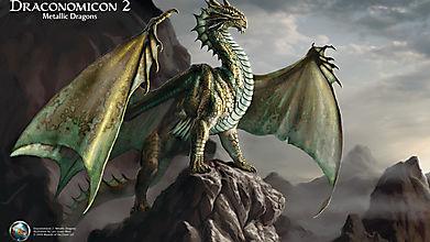 Дракон смотрит в даль стоя на скале