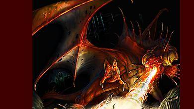 Красный дракон выдыхает огонь