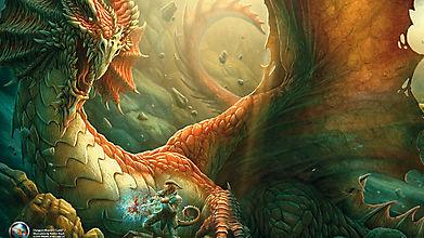 Воин ранит огромного дракона