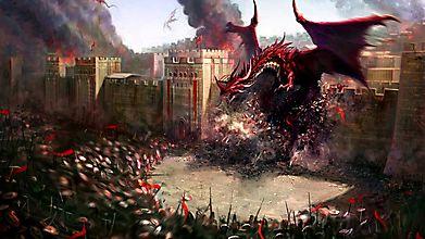 Дракон разрушил стену крепости