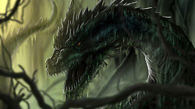 Ужасный дракон в болотах