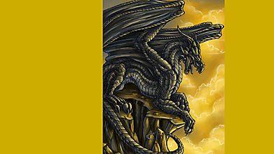 Черный дракон на утесе