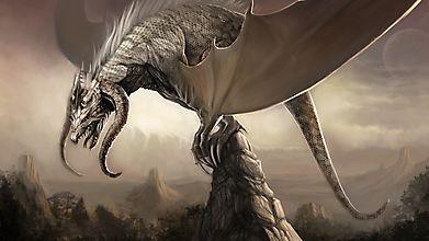 Рогатый дракон на скале