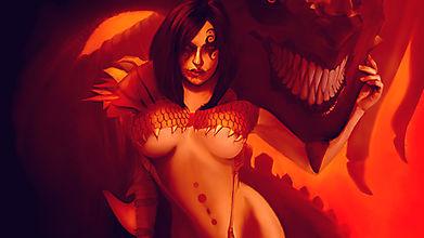 Скалящийся дракон и красивая девушка