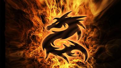 Символ дракона в огне