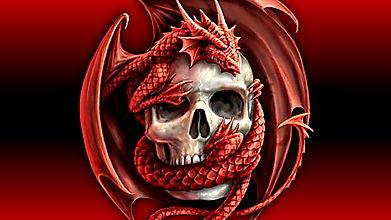 Красный дракон и череп