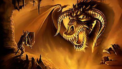 Большой дракон и воин