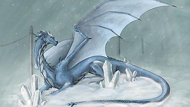 Красивый снежный дракон