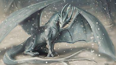 Красивый дракон и снегопад